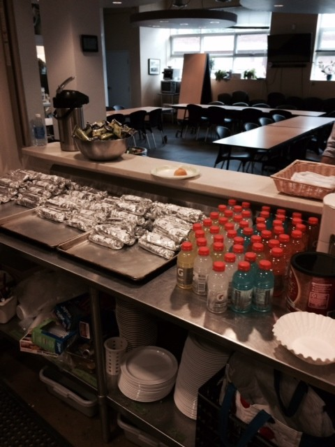A well organized burrito service station!